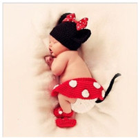 Unisex Fairy Tales Cotton baby mickey costume new born to 6months infrant photograph cosplay clothes crochet beanies skirt diaper cover baby crochet shoes 4pcs set