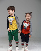 Wholesale 2014 Autumn Children Boys Girls Long Sleeve Patched Striped Cute Bear T shirt Kid Lovely Clothing Child Clothes Yellow Orange M0619