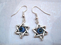 Wholesale Hot pair or pair GOOD LUCK EVIL EYE STAR Star of David Protection SP Earrings Kabbalah Wicca z705