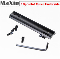 base mount 100MM Length Adapter 10pcs lot Quality DIY 100mm Length Dovetail Rail Mount Curve Underside Lead Rails Picatinny Weaver Adapter Hunting Accessories