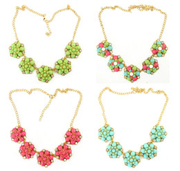 idealway resin gem stone rhinestone flower chunky pendants necklaces Fashion 4 colors gold filled link chain