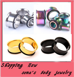 128pcs lot mix 4 color 3-14mm stainless steel single flare with O ring expander kits body jewelry piercing ear plug tunnels traugs