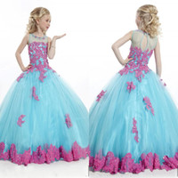Reference Images wedding grown dress - 2015 beatiful lovely Little Girl s Pageant Dresses Blue Grew Neck Tulle Beaded Crystal Top Princess Flower Girl Dresses ball gown princess