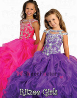 Reference Images Girl Beads 2014 Custom made Purple &Yellow kids ball gowns Pageant Dresses Orange Bateau Ruffle Shining Beading Crystal Little Flower Girl Dress RG6680