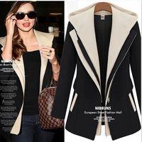 women business suits - Fashion Pop Style Women s Blazer Autumn Winter Slim Faux Two Piece With A Hood Casaco Patchwork Casual Suit Business Suit