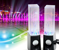 achat en gros de led usb dance water-Dancing Water Speaker Musique Audio 3.5MM Player pour S5 note4 LED 2 en 1 USB mini Colorful Water-drop Show pour la tablette PSP téléphone DHL FREE