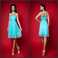 Wholesale 2015 Vintage Sheer Neck Sleeveless Keyhole Beaded Lace Chiffon Knee Length Graduation Party Cocktail Bridesmaid Homecoming Dresses with Belt