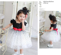 TuTu Summer A-Line Wholesale-MN-6pcs lot New 2014 Summer Baby Girls short sleeve Dots Bow Kids Tutu Princess Dress Children Clothing 20117