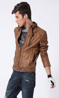 motorcycle leather jacket - hot sell new winter leather jacket Men s leisure standing collar short motorcycle leather jackets