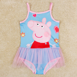 Wholesale R5265 nova kids clothes girls swimwear new korean style peppa pig swimmers baby swimsuits tulle girl swimming suits