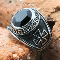 Three Stone Rings biker Men's Wholesale Lots(4pcs lot) Hot!!!!!!!! Black Stone Cross Biker Ring 316L Stainless Steel