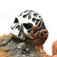 Wholesale Size Flaming Skull Biker Ring L Stainless Steel Charm Ring Biker Jewelry