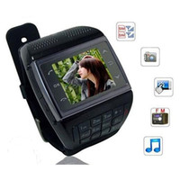 Wholesale Watch Phone Dual SIM Card GSM Quad Band Cellphone Bluetooth Wristwatch Mobile Phone Numberic Keypad Spy Camera Support Email MP3 MP4 FM