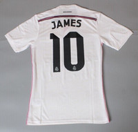 Wholesale Top Thailand Quality Season Shirt Ronaldo James Bale Kroos Home White and Away Pink and goalkeeper Blue Soccer Jersey