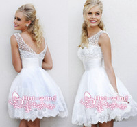 Wholesale 2014 Little White Cheap In Stock Homecoming Dresses Illusion Crew Neck V cut Low Back Mini Short Pearl Beaded Lace Graduation Gowns CPS068