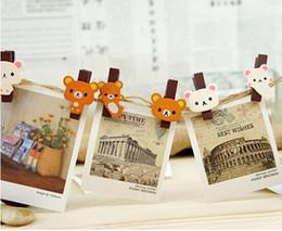Wholesale 2014 lovely bear wooden clip Photo wall small clip Photogallary memo clip bookmark