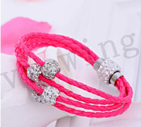 Wholesale Colorful Bracelets With Crystal Rhinestone Shamballa Loose Beads Bracelet Jewelry Beads New fashion girl woman students favourite like decor