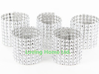 Wholesale 100 Silver quot Row Without Velcro Napkin Rings Diamond Rhinestone Bow Covers Wedding Chair Sashes Bow Mesh Gift Wrap