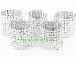 Wholesale Silver quot Row Bow Covers Napkin Rings Diamond Rhinestone Wedding Chair Sashes Bows