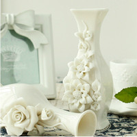 Wholesale 2014 New Creative Modern Exquisiteness White Tabletop Brief Vase Fashion Ceramic Vase China Ceramic Ornaments