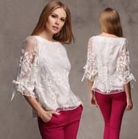 al por mayor euro de la vendimia-Nuevas 2014 mujeres del verano de la blusa de las señoras de la vendimia del bordado de la camisa más tamaño remata la blusa de encaje de euros estilo de moda para las mujeres prendas de vestir