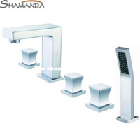 Ceramic Plate Spool Yes SHAMANDA Free Shipping-Bathroom Products Solid Brass Chrome Finished 5 Pieces Faucet Set,5 Holes Bathtub Faucet Mixer Tap-Wholesale-2438