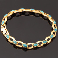Slap & Snap Bracelets Women's Fashion New 2014 Item Turquoise Bracelets For Women 18K Real Gold Plated Turkey Stone Chain Bracelets & Bangles Jewelry Wholesale H390