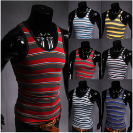 Wholesale The Summer Black hit color fashionable men stripe vest T102