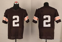 Wholesale CLE Johnny Manziel Brown white orange Football Elite Jerseys Authentic On Field cheap Jersey