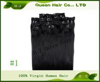 Wholesale 100 Brazilian Virgin hair clip in human hair g quot silky sraight hair extension H Z queen hair
