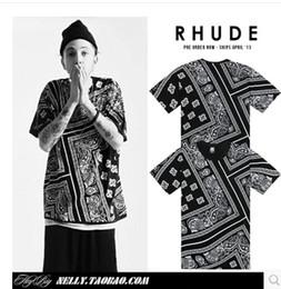 Wholesale Bandana Print T shirt Streetwear Hip hop Skateboard KTZ Men T shirt Couple Clothes Soulja Boy Tyga Justin Bieber S XL k1151