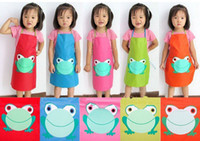 Wholesale Fashion Hot Cute Children Waterproof Apron Cartoon Frog Printed Painting Cooking