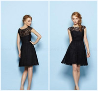 Wholesale 2014 New Black Lace Simple Bridesmaid Dresses Sheer Back Crew A Line Knee Length Bridesmaid Gown Elegant Formal Gowns Custom Made Plus Size