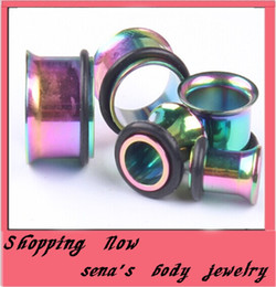Rainbow Single Flare Ear plug stainless steel mix 3~14mm 50pcs lot flesh tunnel ear plugs piercing