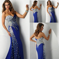 Wholesale Stunning Sweetheart Sleeveless Beaded Crystal Royal Blue Chiffon Prom Dresses Mermaid Special Occasion Gowns New