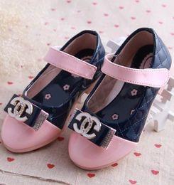 Wholesale Child Kids Dress Shoes Girls Girl Princess PU Bowknot Slip on Magic Tape Soft Sole Flats Shoe Footwear Pink Peach Dark Blue T K0470