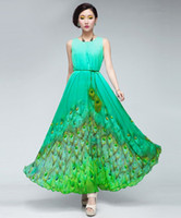 Reference Images Crew Chiffon Unique A Line Jewel Peacock Chiffon Ankle Length Sleeveless Sash Prom Dress L XL 2014 Hot Sale Free Gift