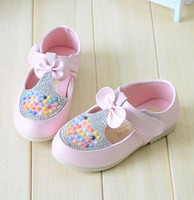 Wholesale Child Kids Dress Shoes Baby Girls Princess Bling Rhinestone PU Bowknot Magic Tape Soft Sole Flats Shoe Footwear Pink Rose Blue T K0471