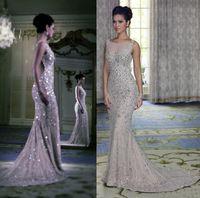 Wholesale Latest Design Mermaid Evening Dresses Crystal Custom Made Backless Floor Length Formal Prom Gowns W2047 Rhinestones Sheer Stunning Top
