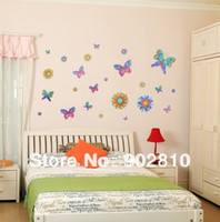 Paper Wallpapers Waterproof Living Room [listed in stock]-70x50cm Cartoon Colorful Butterfly stickers to decorate the walls