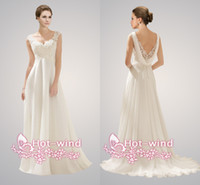 Wholesale 2014 Beach Wedding Dresses Sexy V Neck Lace Beaded Backless A Line Chiffon Empire Maternity Bridal Gowns CPS072 vestidos de noiva