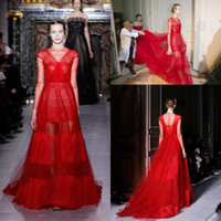 Reference Images High Neck Tulle lace  Top Valentino Runway High Neck Floor Length Bright Red Sheer Long Sleeves Tulle See Through Lace Prom Gown Sexy Evening Dress