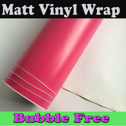 Hot Pink Matt Vinyl Car Wrap Film With air release Full Car Wrapping Foil Rose red Car sticker Cover size1.52x30m Roll 4.98x98ft