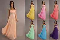 Wholesale 2014 Cheap In Stock Empire Chiffon Long Bridesmaid Dresses Cap Sleeves Beaded Ruffles Evening Gowns Prom Dresses CPS049