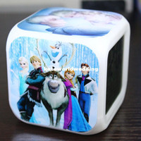 Wholesale frozen Retail And New LED Colors Change Digital Alarm Clock Frozen Anna and Elsa Thermometer Night Colorful Glowing Clock tsyles