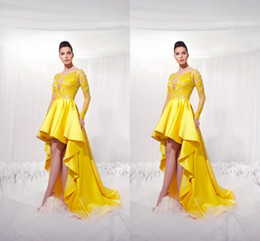 Yellow Short Front Long Back Homecoming Dresses With Illusion Long Sleeves Modest 2019 Applique High Low Prom Party Gowns For Girls