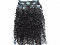 Wholesale new arrival brazilian virgin afro kinky curly hair weft clip in kinky curly natural black b dark brown jet black color human extensions