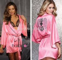 Wholesale Faux Silk Sexy Lingerie Hot Diamante Crystal Love Pink Satin Kimono Robe Bathrobe Sexy Nightgown Vestidos Women