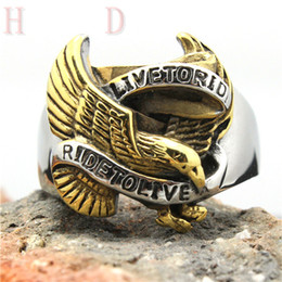 Wholesale New Cool Design Live To Ride Eagle Biker Ring L Stainless Steel Top Quality Motorcycles Amazing Ring