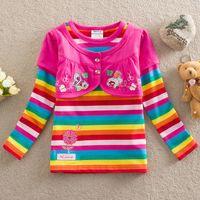 Wholesale F3096 Nova kids clothes m y cute baby girls flower rainbow stripes stretch cotton false piece T shirts long sleeve autumn girls tops